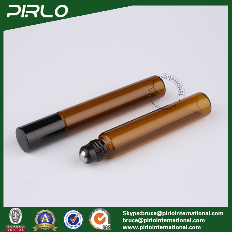 8ml Amber Color Glass Roll on Bottle with Black Lid