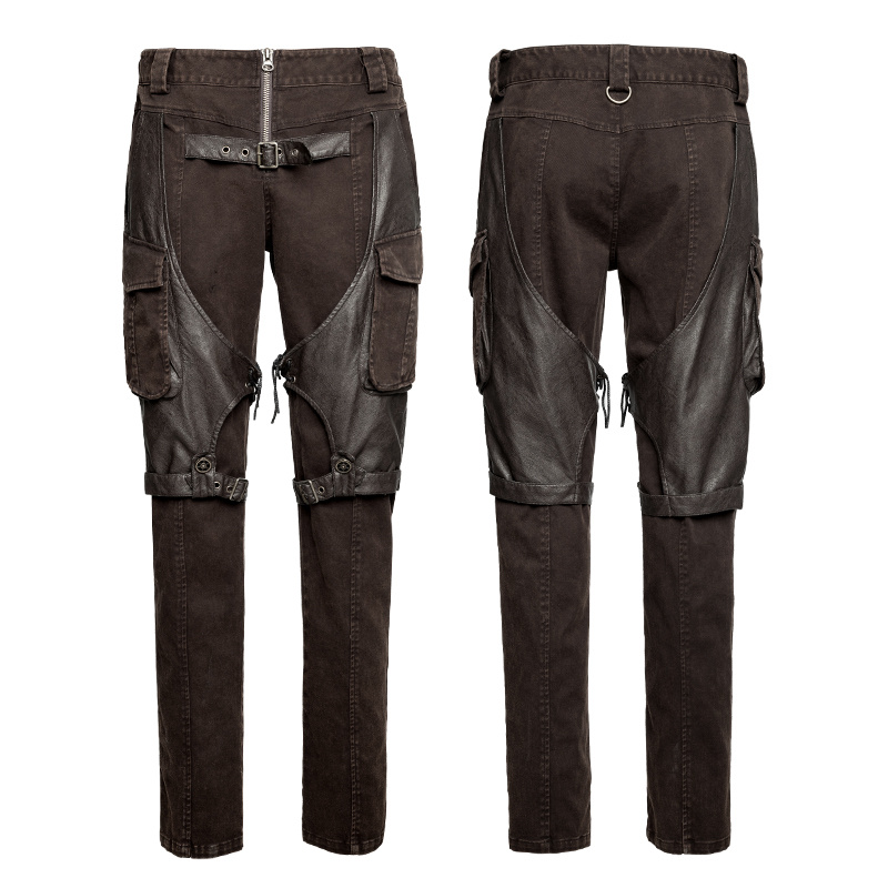 Steampunk Coffee Men′s Cargo Pants Big Pockets Metallic Jeans (K-284)