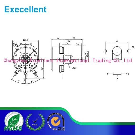 Wth118 Linear Taper Dual Gang 10k Ohm 2W Watt Carbon Potentiometer