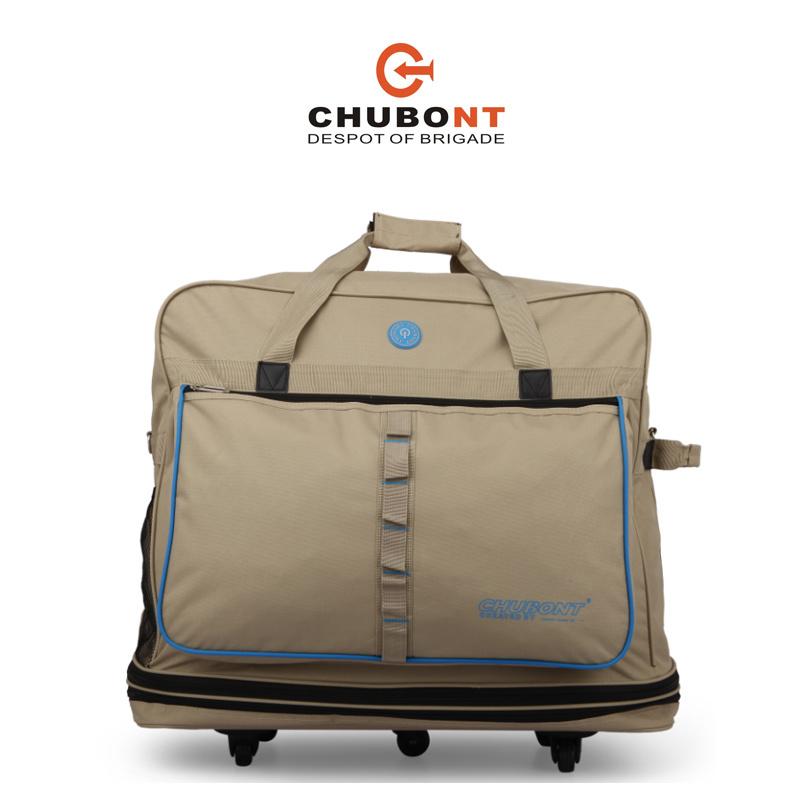 Chubont Khaki Color Expandable 5 Wheels Travel Handbag