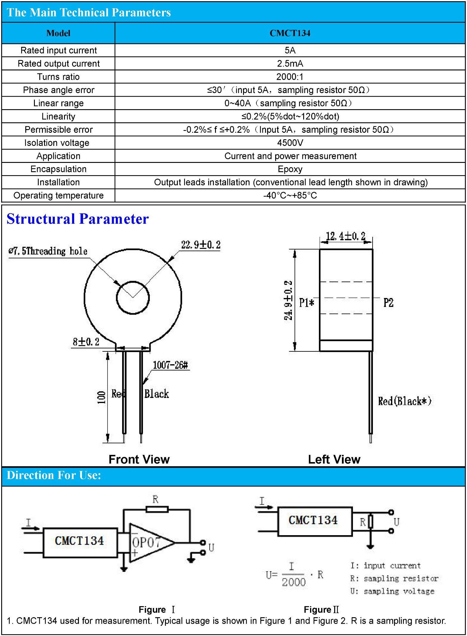 AC Current Transformer 2000: 1 5A/2.5mA