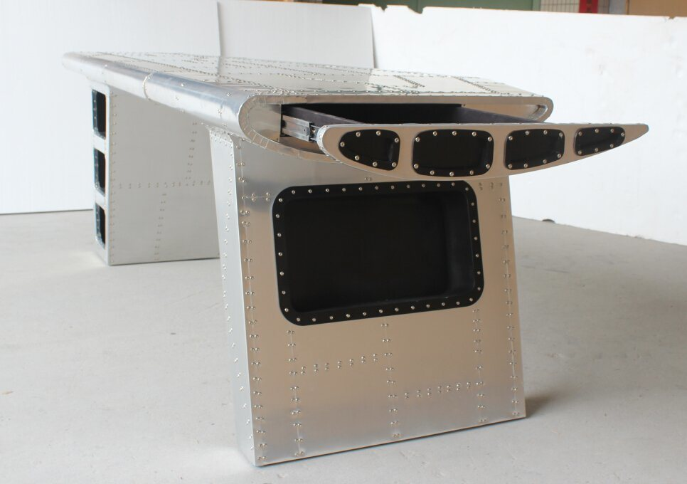 Aviator Aluminum Wing Desk with Drawer, Aluminum Desk with Silver Nails T-013