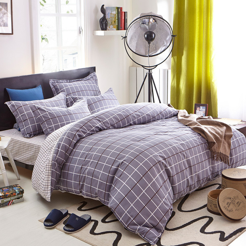 Textile 100% Cotton High Quality Bedding Set for Home/Hotel Comforter Duvet Cover Bedding Set (purplish grey&plaid)