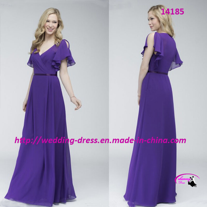 A-Line Floor Length V-Neckline Evening Bride Dress with Cap Sleeves