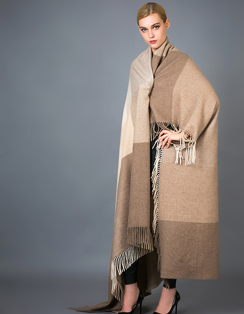 100% Alashan Cashmere Blanket, Soft/Luxurious Plaid Fashion Cashmere Blanket