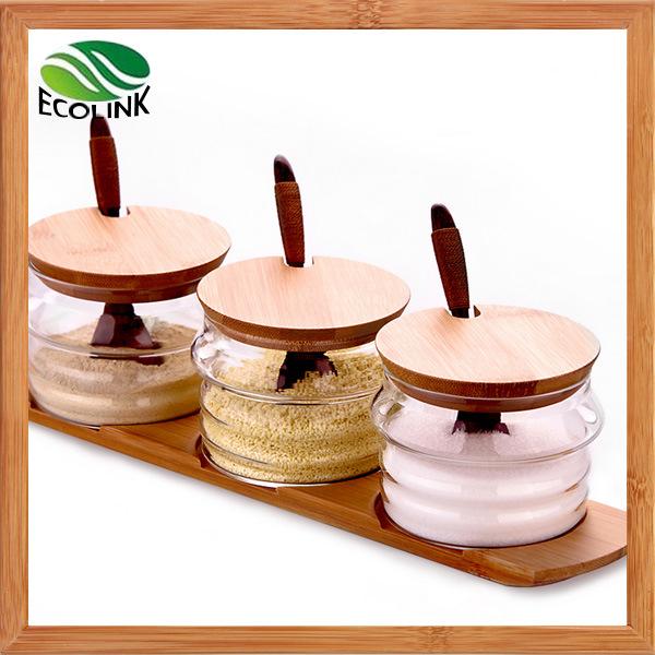 Customize Glass Sugar / Spice Jar with Bamboo Stand
