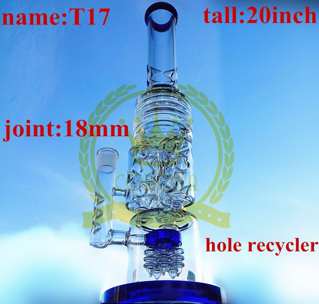 20inch Bigger Water Pipe Button and Honeycomb Perc Smoking Glass Water Pipe
