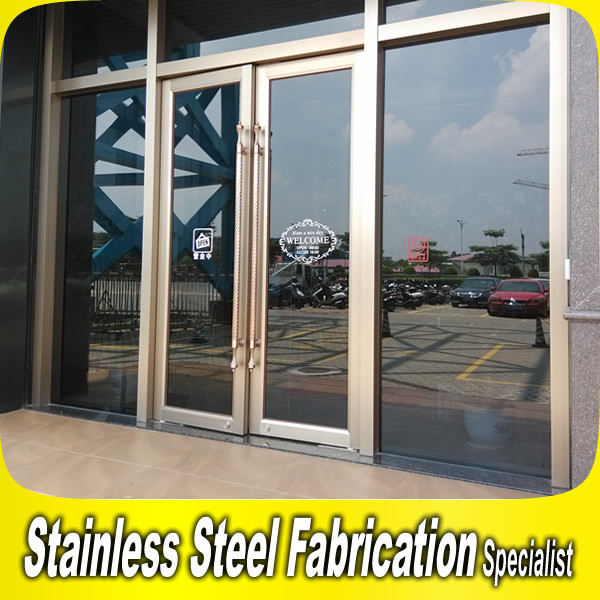 Hairlin Finish Stainless Steel Frame Glass Door