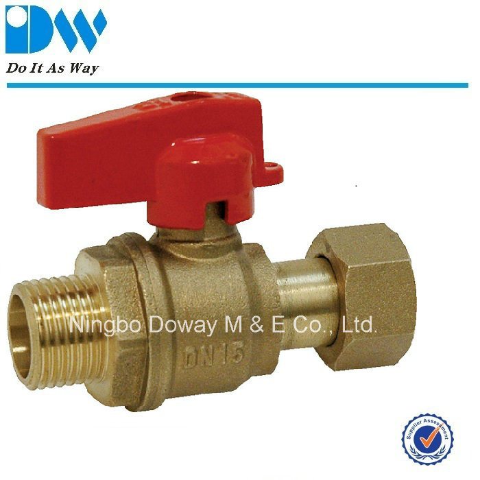 Brass Ball Valve Female End with Free Nut Aluminum Handle