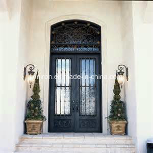 Steel Exterior Doors with Transom and Tempered Glass