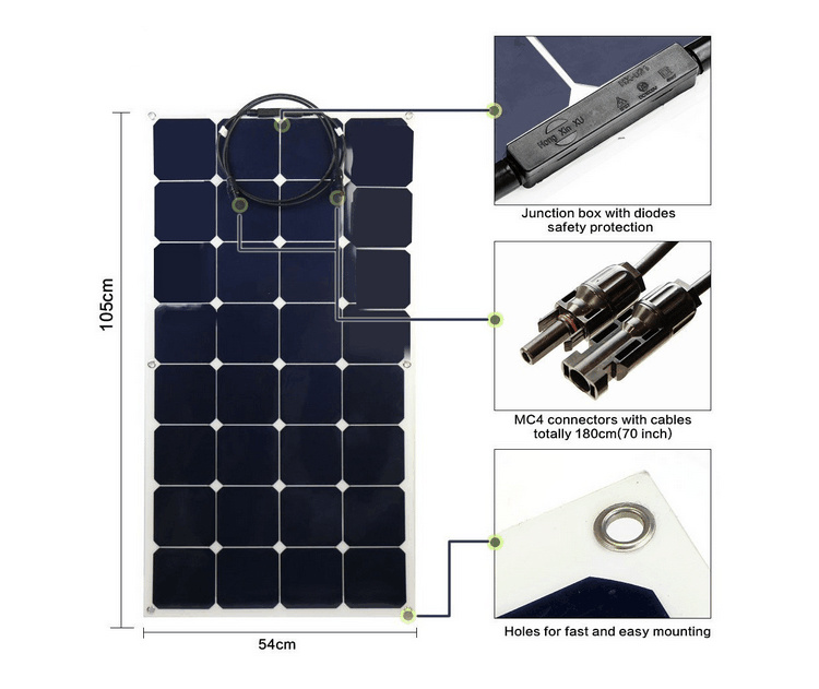 2017 High Efficiency Sunpower 100W Semi Flexible Solar Panel