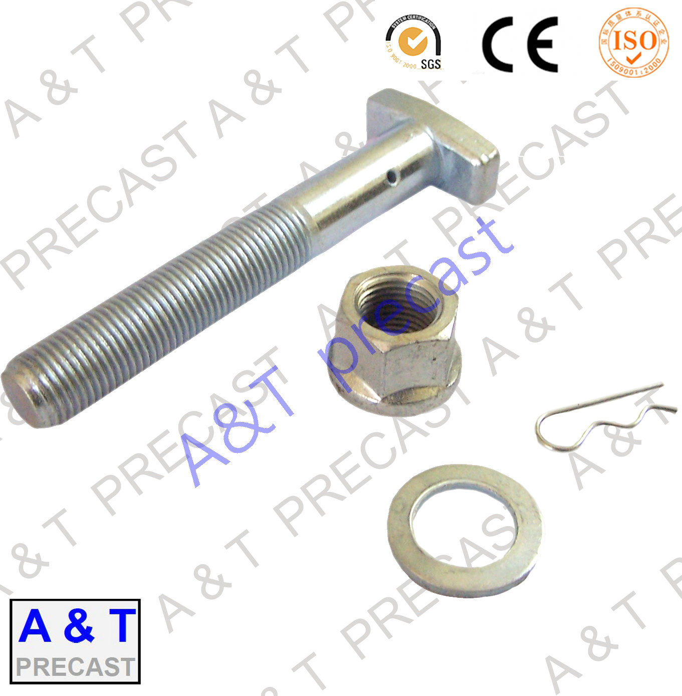 Carbon Steel, Stainless Steel/Square/ T Head Bolt Parts with Hex Nut and Washer