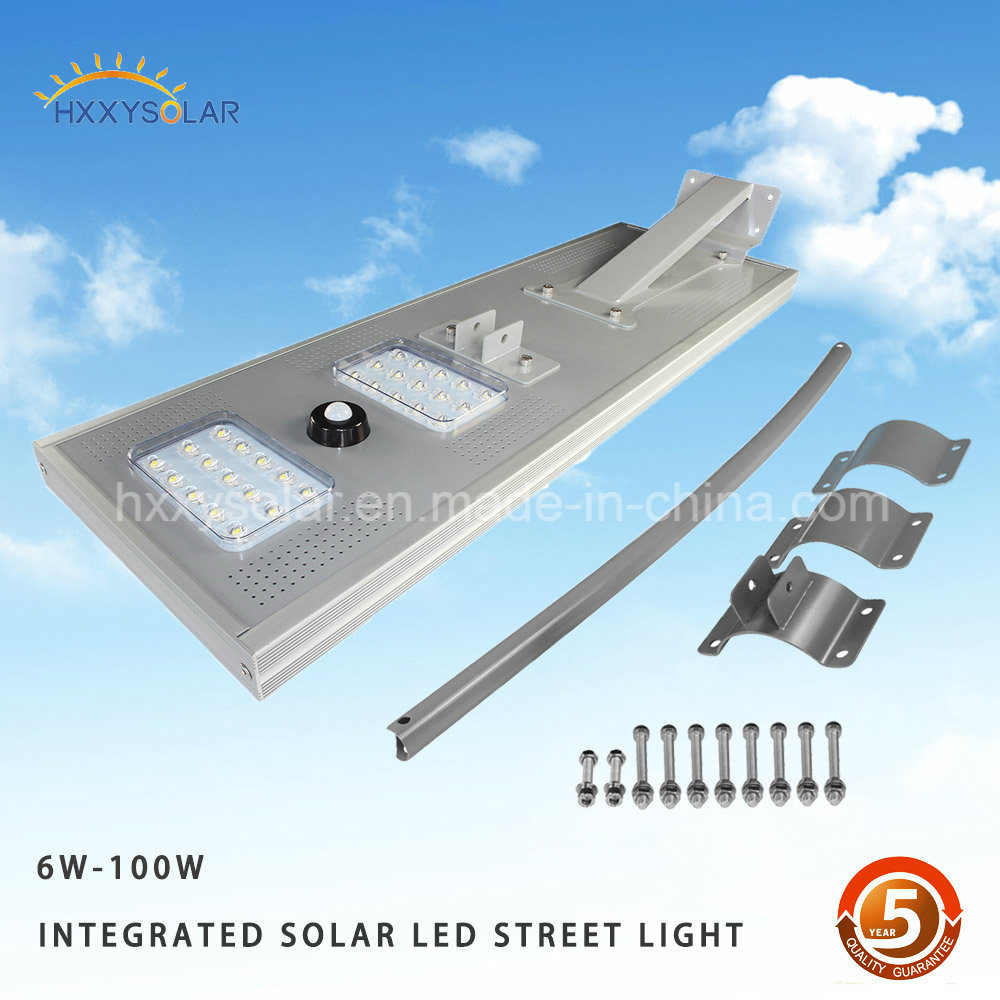 Ce RoHS 5W-100W All in One/Integrated LED Solar Street Light for Garden, Public Lighting