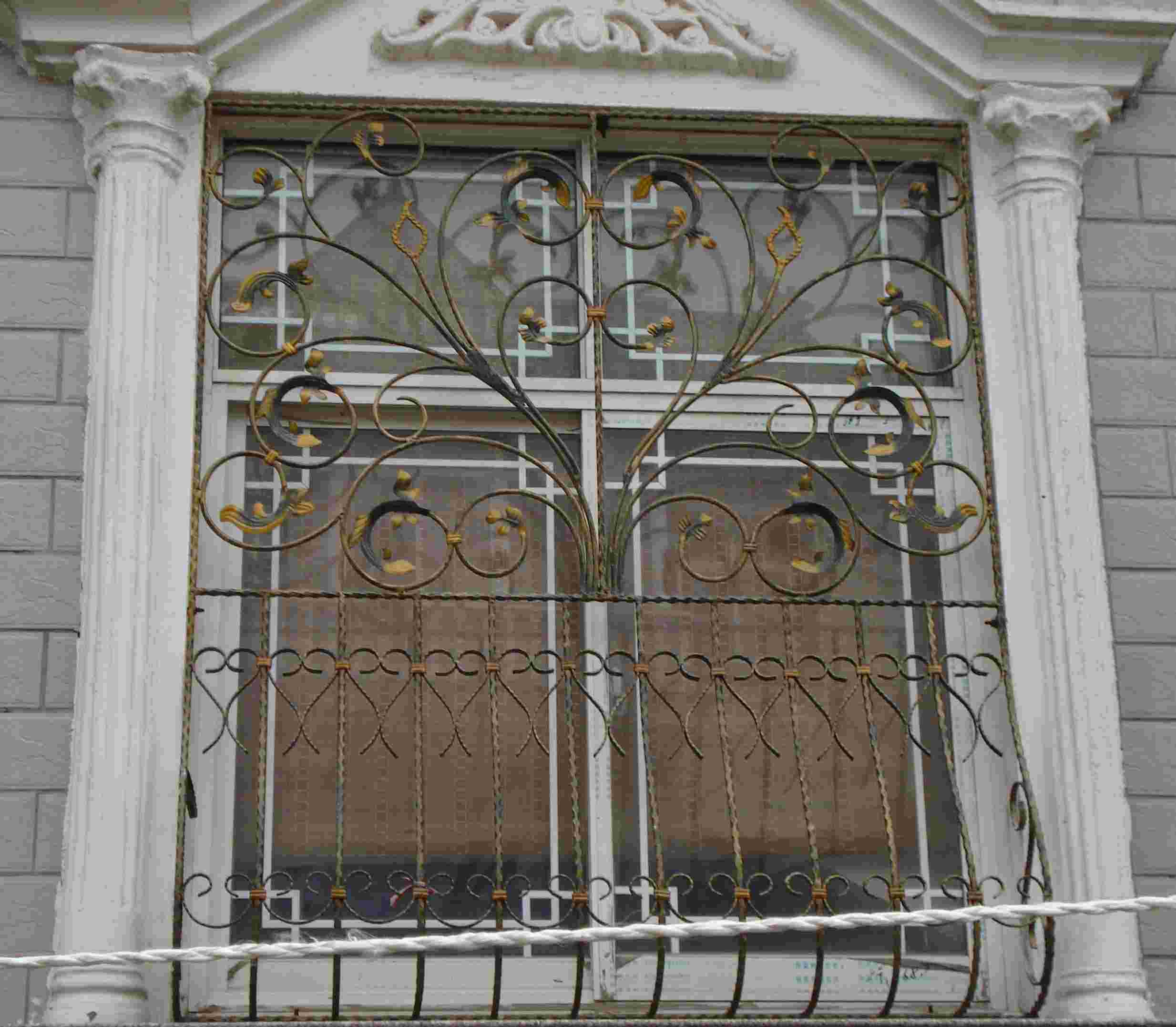 China wrought iron window guard xj042 china iron window for Window guards