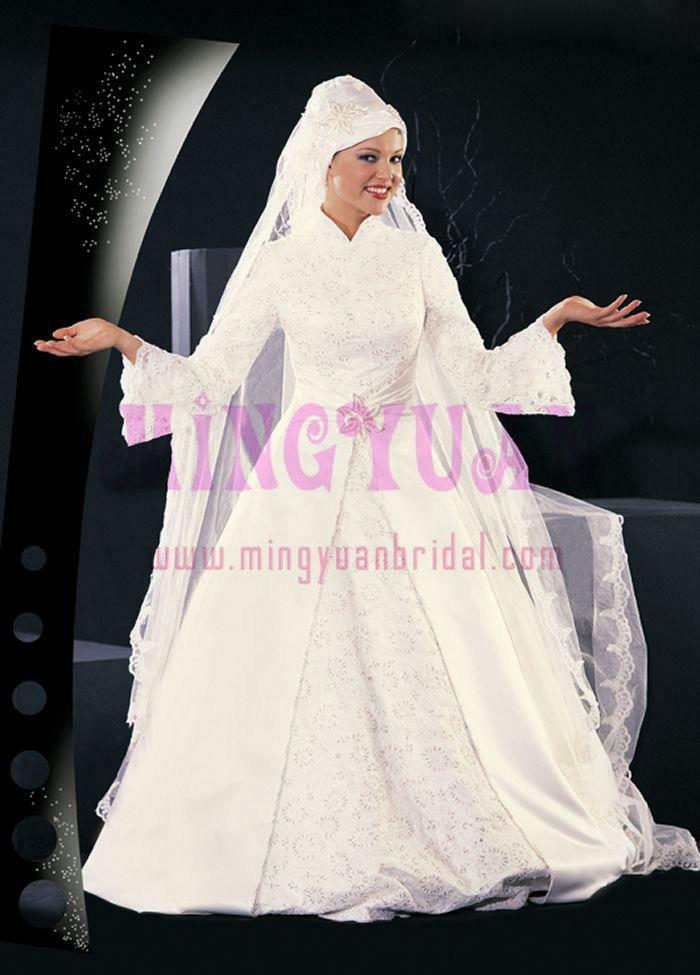 Long Sleeve Muslim Wedding Dress Is006