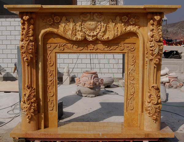 Hand Carved Fireplace Mantel (SK-2393)