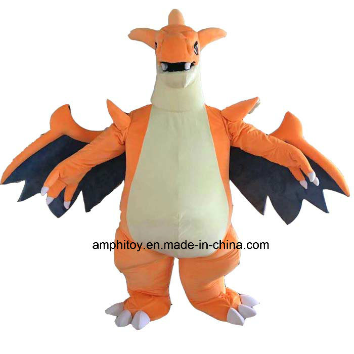 Orange Mascot Costume Charizard Character Popular Costume