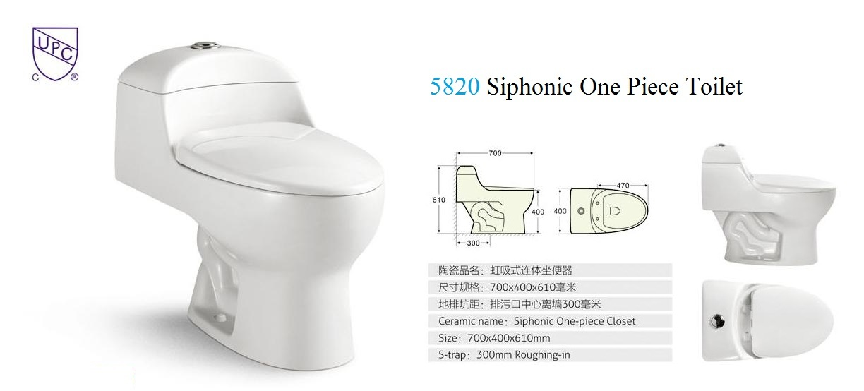Ceramic One-Piece Toilet (No. 316) , Siphonic Toilet S Trap, 300mm Roughing-in