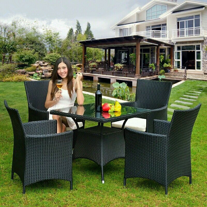 Outdoor Rattan Wicker Table and Chair Set