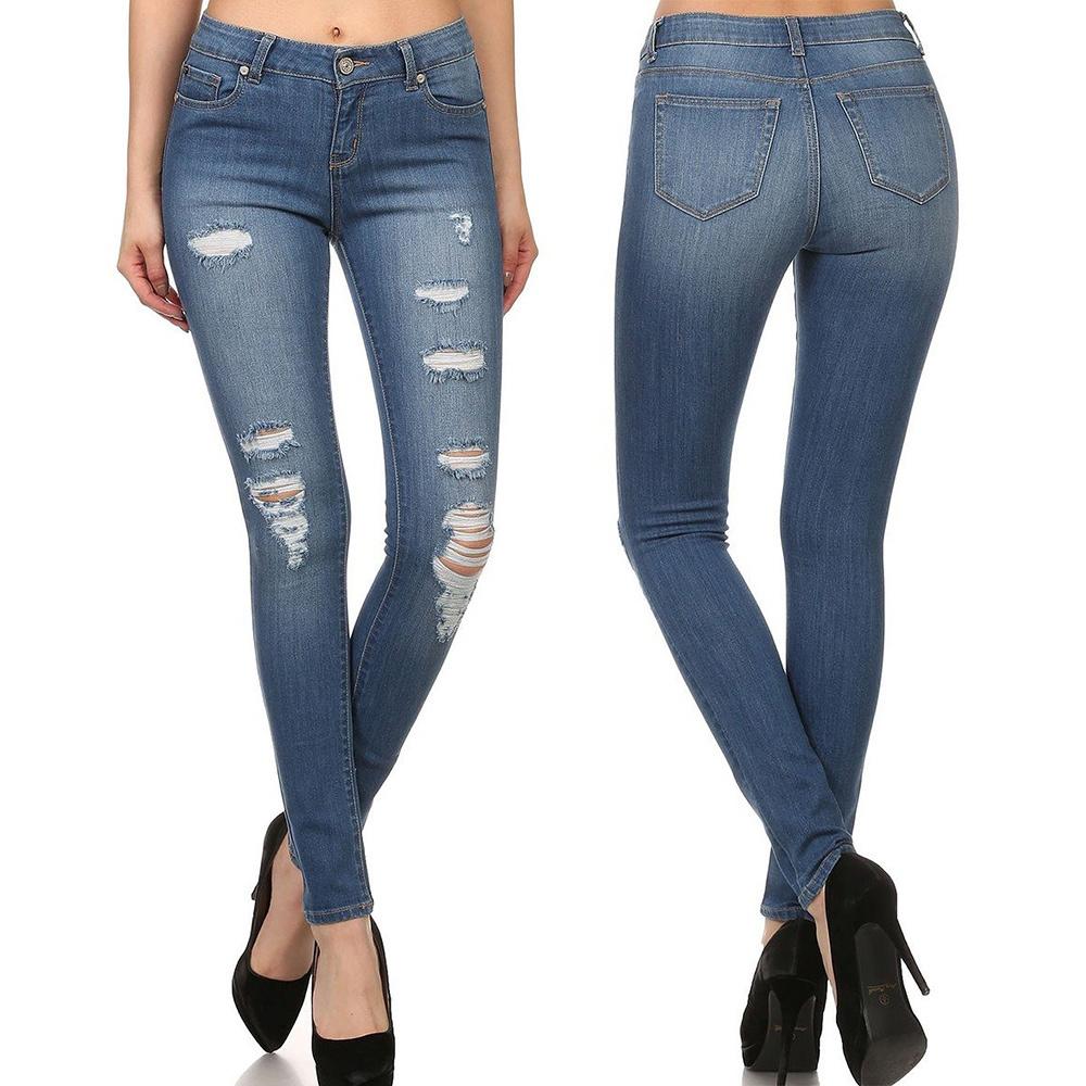 Women High Waist Ripped Fashion Jeans Denim Skinny Legging