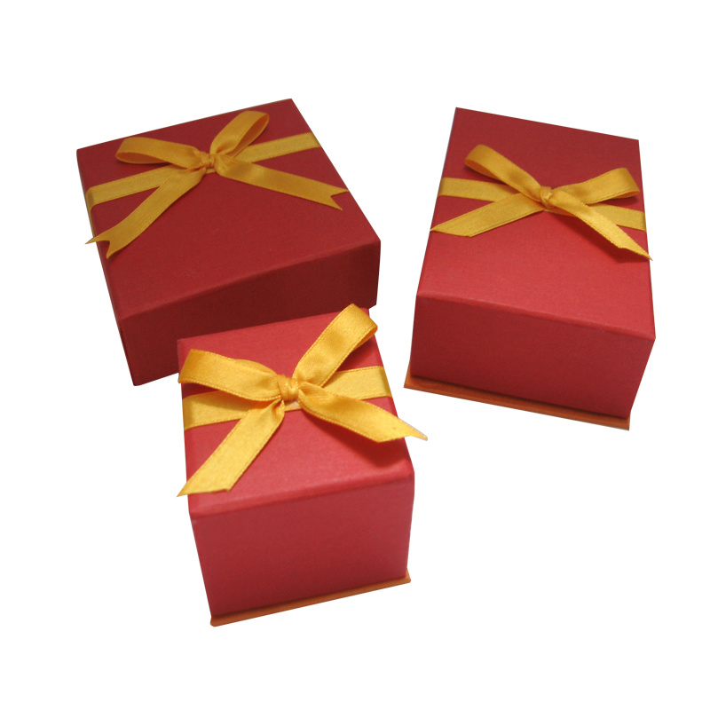 Square Paper Gift Box with Ribbon