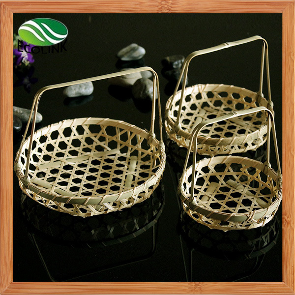 Bamboo Wicker Tray Basket with Handles