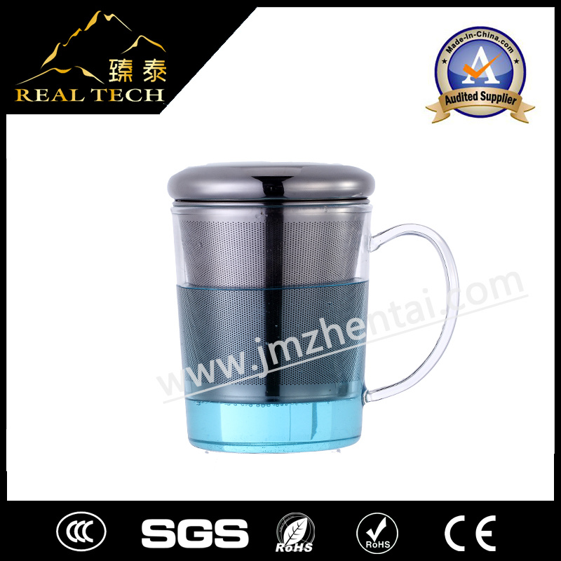 Hand Made Heat Resistant Glass Cup with Stainless Steel Cap