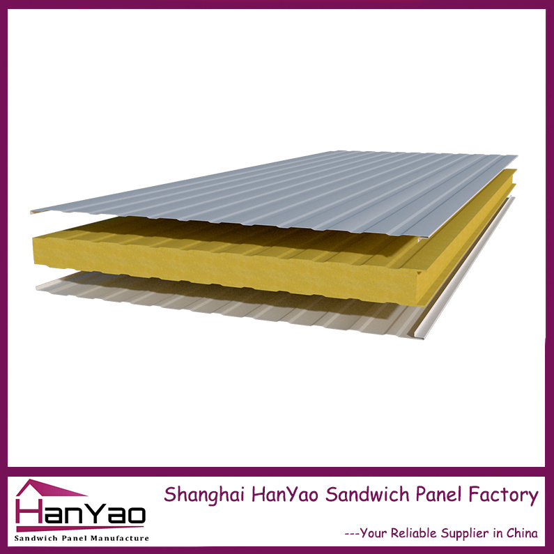 Shanghai Hanyao Factory Price Fireproof Insulated Steel Sandwich Panel for House Building