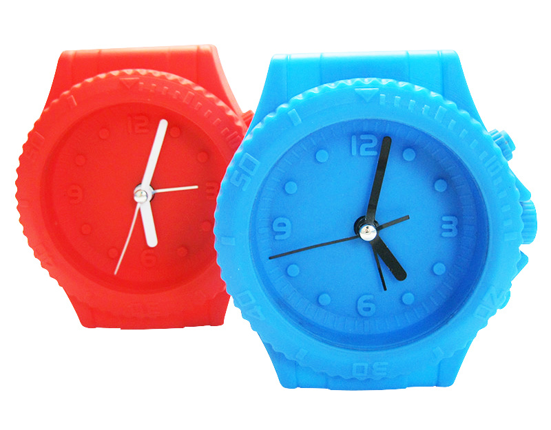 Modern Promotional Indoor Decoration Watch Shape Logo Printed Silicone Mini Desk Alarm Clocks