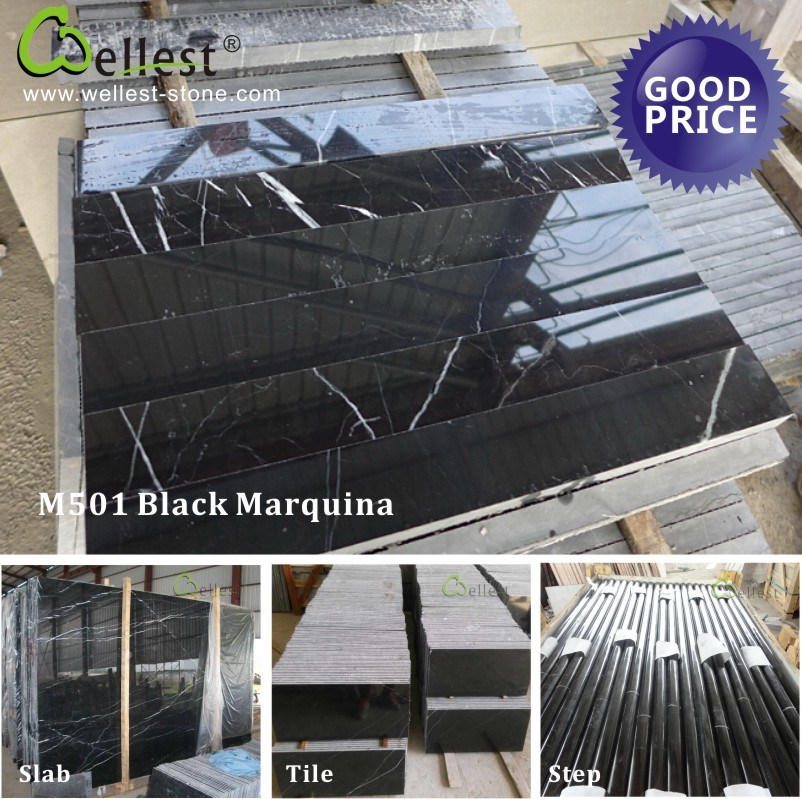 Black Marquina Nero Marquina Marble with Slab/Tile/Step/Plinth