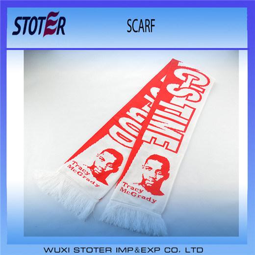 High Quality Custom Design 100% Acrylic Woven Football Scarf