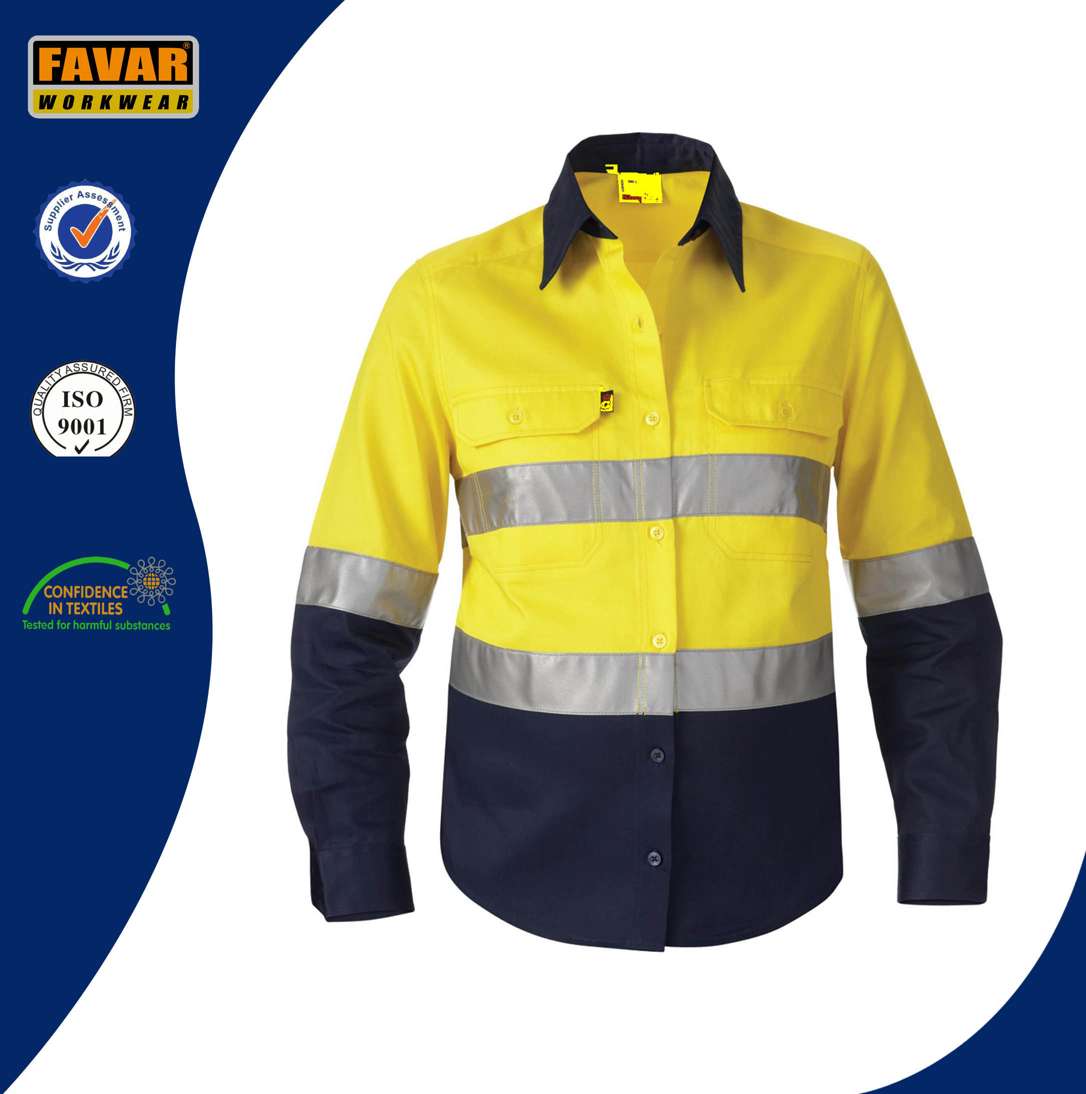 100% Cotton Men Long Sleeve High Visibility Safety Work Shirt