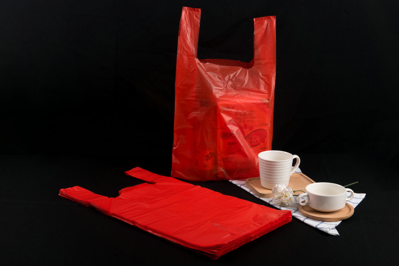 HDPE Plastic Plain Shopping Bag with or Without Printing