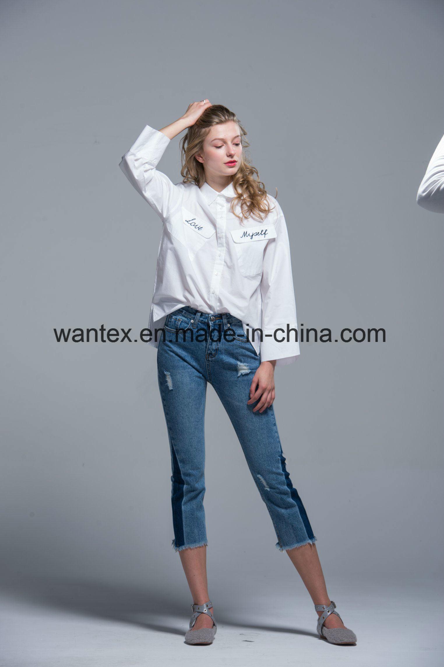 Ladies Blouse 100% Cotton Fashion Shirt Fashion Top Spring Autumn