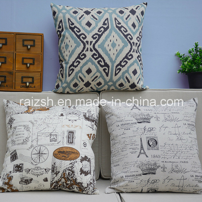 England Printing Cotton and Linen Pillow Cover Household Automobile Cushion
