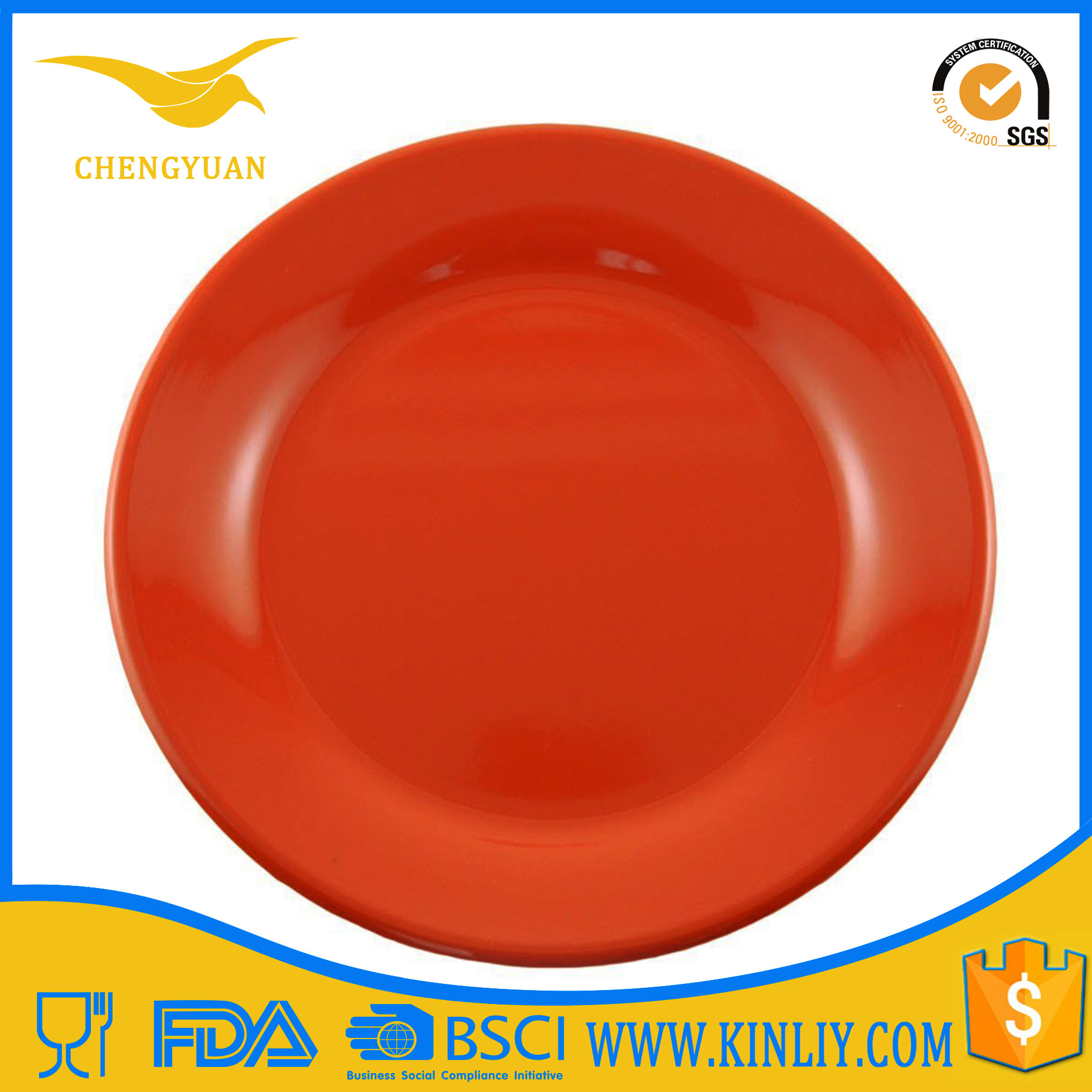 Melamine Yellow Custom Tableware Plastic Dinner Plate Ware for Sublimation