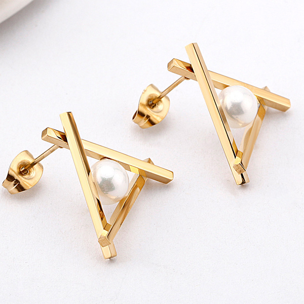 Fashion Korea Triangle Stud Earings 925 Silver Jewelry