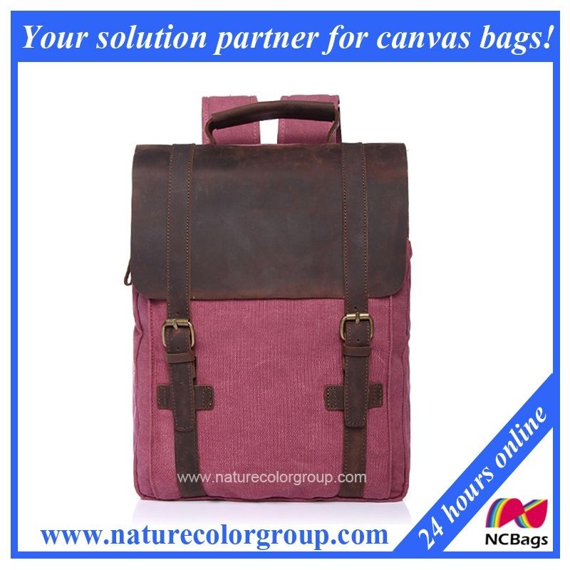 Canvas Student School Laptop Bag with Real Leather
