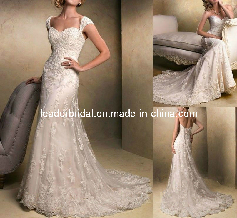 China Lace Wedding Dress Cap Sleeves Appliques Full Length