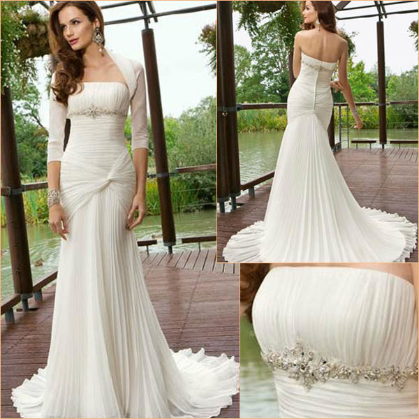 Fishtail Wedding Gowns: China Beaded Draped Chiffon Fishtail Wedding Dress (RJ0047