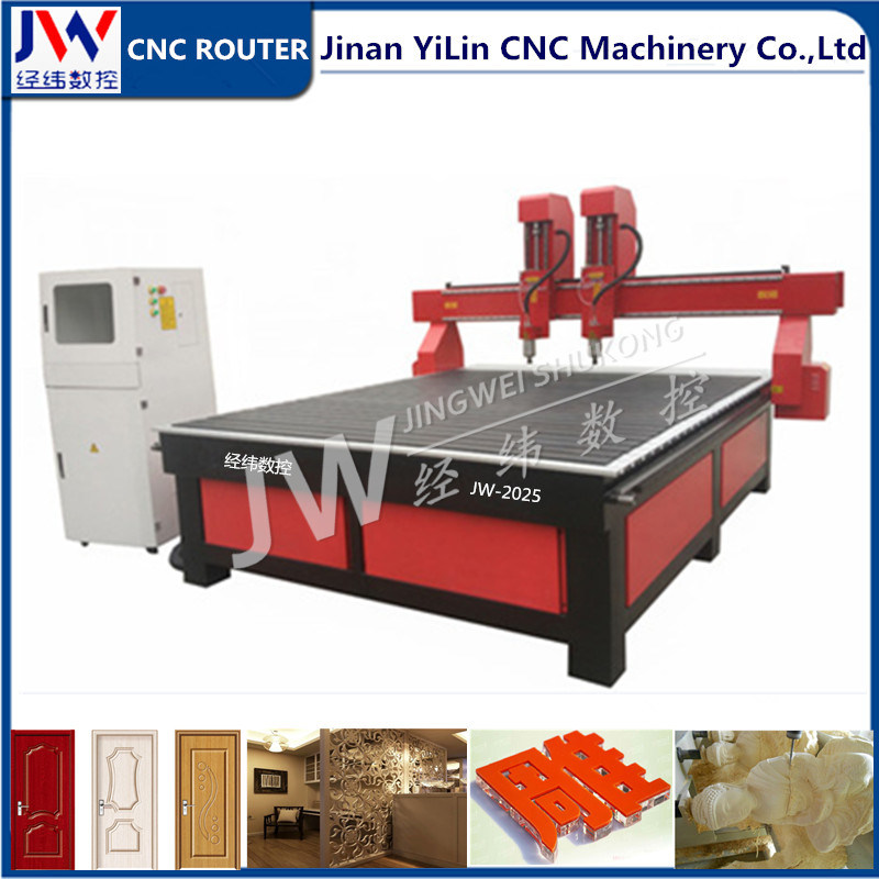 2 Independent Spindles Woodworking CNC Router for 3D Relief Carving