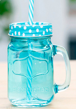 Blue Mason Jar Multi Colored Lid with Handle Straw