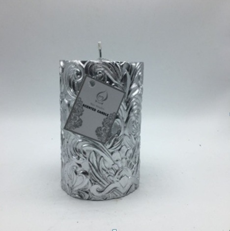Silver Flower Designed Handmade Pillar Candle for Home Decoration