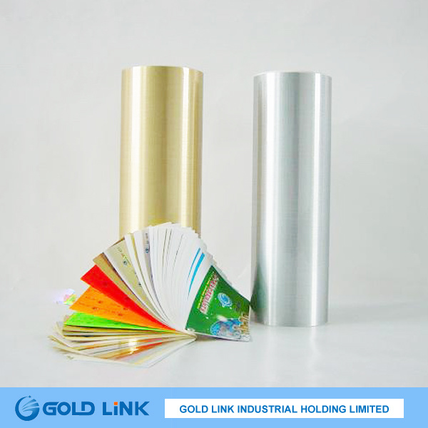 Metalized Adhesive Pet Sticker Film with Gold Skin