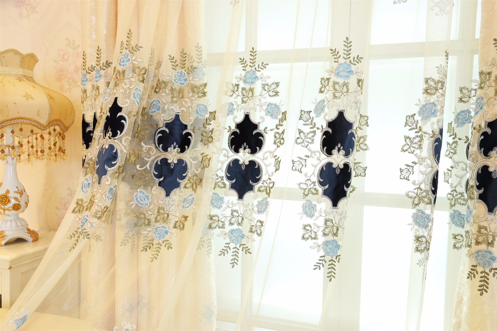 Gold Metallic&Applique Embroidery Curtain (MXC-01)