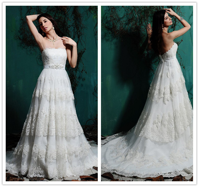 Layered Wedding Dresses : China layered beaded lace wedding dress