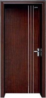 Flush Interior Ash Wood Door with Aluminium Alloy Strip Decoration