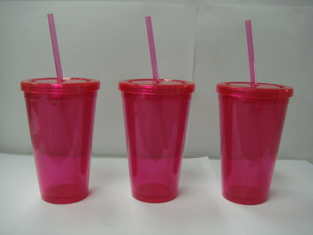 Single Wall Plastic Straw Cup with Logo Printing