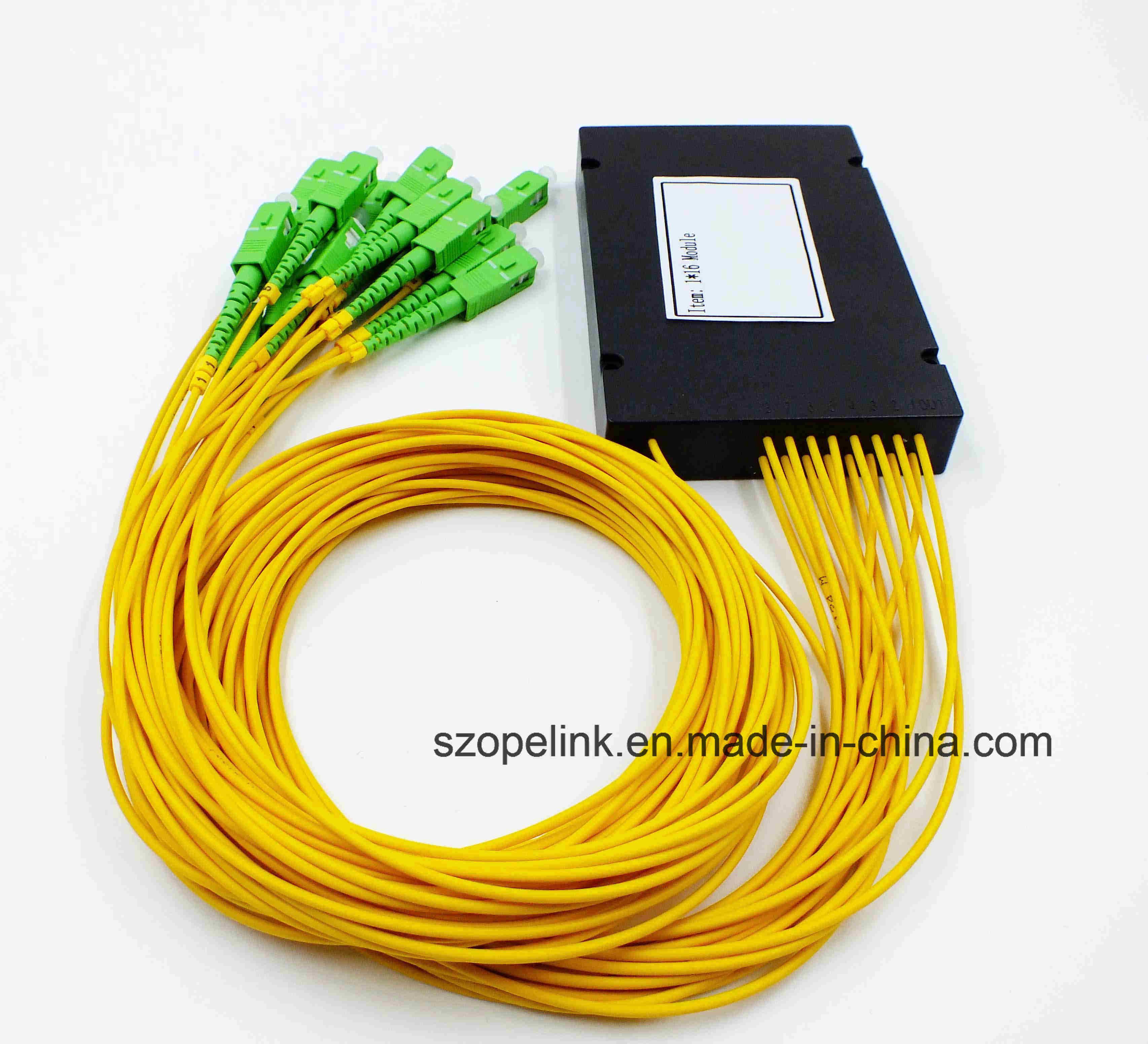 Gpon Epon Telecommunication Low Insertion Loss 1X2/4/8 PLC Splitter Plastic Box