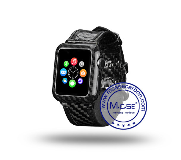 Napov Newest Real Carbon Fiber Watch Cover for Apple Watch Series 2 38mm